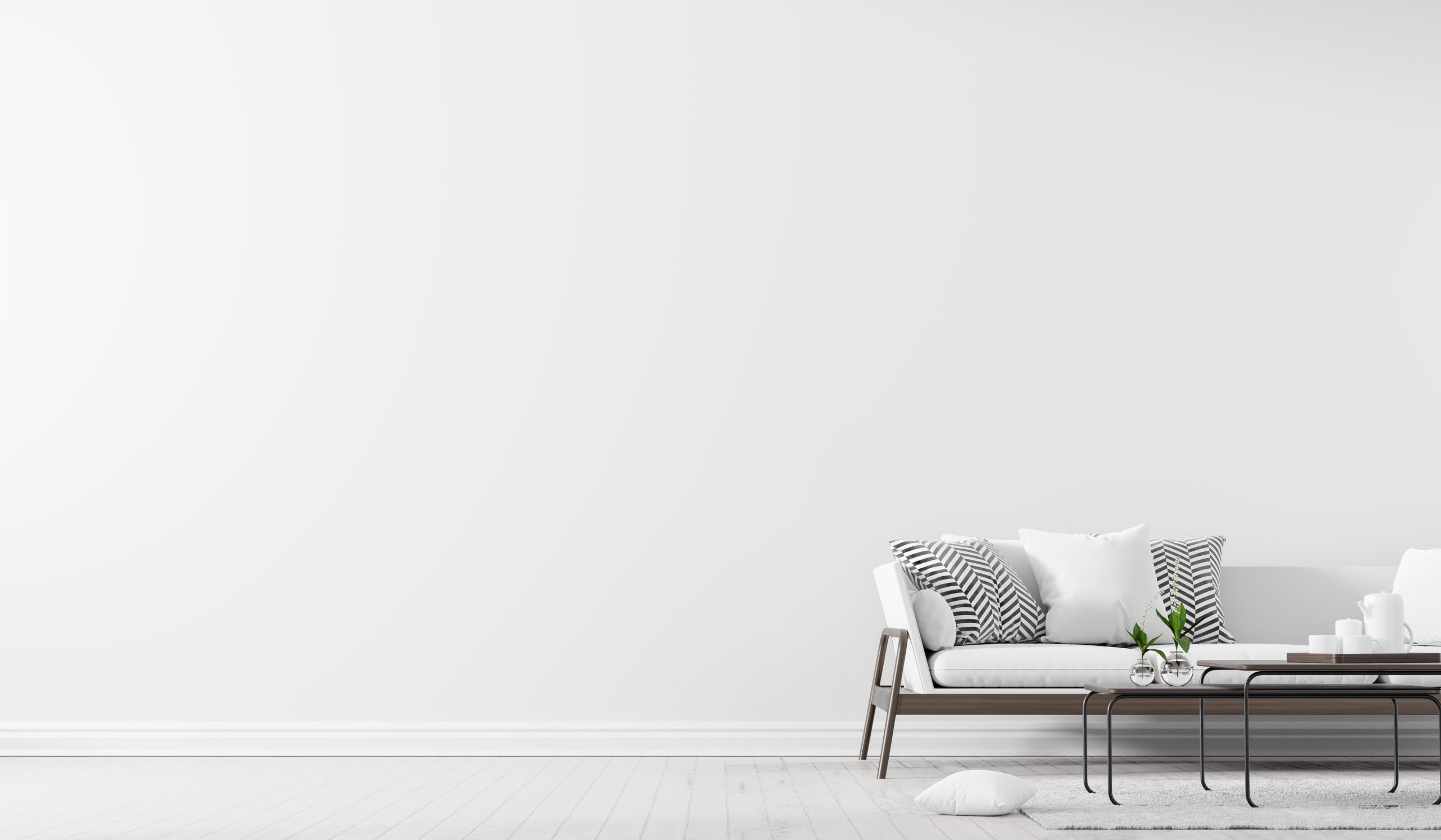 Scandinavian style interior with sofa and coffe table. Empty wall mock up in minimalist interior. 3D illustration.